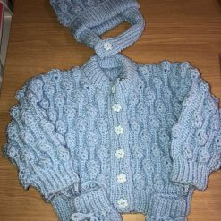 Hand knitted baby set cardigan, bobble hat and mittens 6-12 months - baby blue