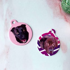 Pet ID Portrait Tag with Custom Portrait (Single-Sided)