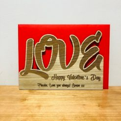Personalised 'LOVE' Wood Engraved Valentine's Day Card
