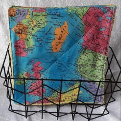 "Set of 4 World map Reusable wipes/cloths/towels Eco friendly/ kitchen 10"" x 10"""