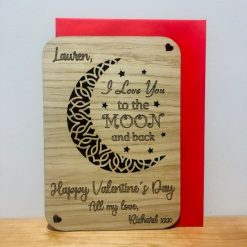 Personalised 'Love you to the moon and back' Wood Engraved Valentine's Day Card