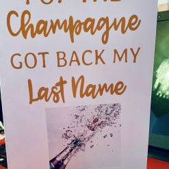 "Divorce card - ""Pop The Champagne, Got Back My Last Name""  Humorous divorce card"
