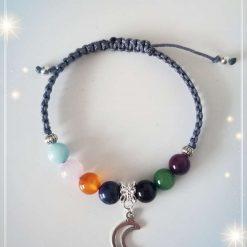7 Chakra Bracelet with New Moon Charm