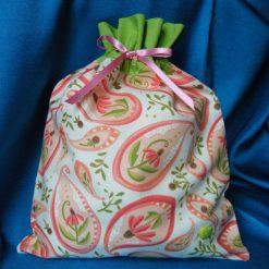 Reusable fabric gift bag (pink paisley)