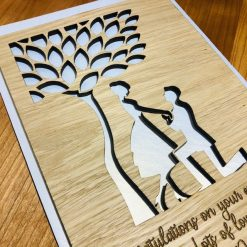 Personalised Engagement Congratulations Wood Engraved Card