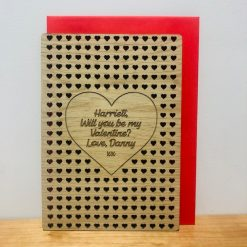 Personalised Small Hearts Cut Out Wood Engraved Valentine's Day Card