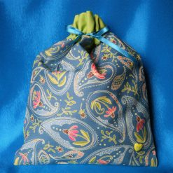Reusable fabric gift bag (teal paisley)