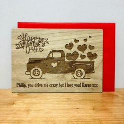 Personalised Wood Engraved Happy Valentine's Day Card
