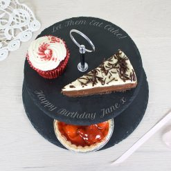 Engraved Two Tiered Slate Cake Stand