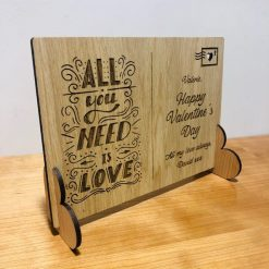 Personalised 'All you need is Love' Wooden Valentine's Day Post Card