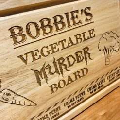 Personalised 'Vegetable Murder' Kitchen Chopping Board