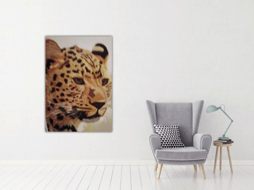 amur leopard thread painting. Artwork. Home decore 4