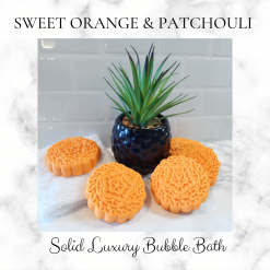 Handmade sweet orange and patchouli bubble bars/solid luxury bubble bath ,free postage uk ,CPSR ,Cruelty free ,Vegan ,