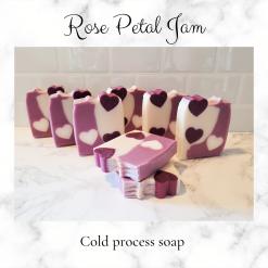 Handmade Artisan rose petal jam cold process soap, free postage uk ,CPSR, Cruelty free , Vegan friendly,Artisan soaps ,luxury skincare ,Bathandbeauty ,Handmade soaps ,Soaps