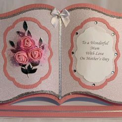 Boxed Book Easel Card pink flowers