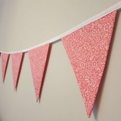 Coral & White Floral Bunting, 100% cotton, Floral Bunting, Pink Bunting, Garland, Fabric Bunting, 10 double sided flags 2.5m