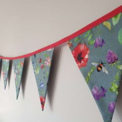 Dark Grey Floral Bunting 100% cotton, Wild Flower & Insects Bunting, Floral Garland, Garden Bunting, Bee Bunting, Fabric Bunting, 10 double sided flags 2.5m