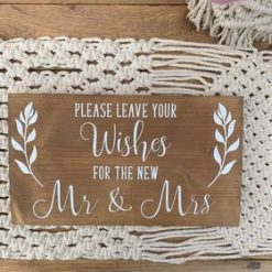 Freestanding Wooden Rustic/Barn/Boho Wedding Sign, Wedding decorations - Sign Please Leave Your Wishes For The New Mr & Mrs