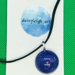 Circle pendant purple on suede cord necklace