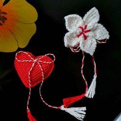 brooch crochet, handmade, martisoare, white, craft