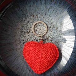 Red Heart, keychain, keyholders, crochet, handmade, bag charm