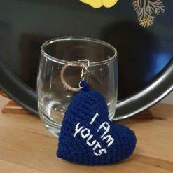 keyring, heart, personalized, crochet, handmade keys holder