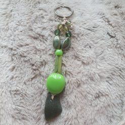 Seaglass and bead keyring handbag charm green 2
