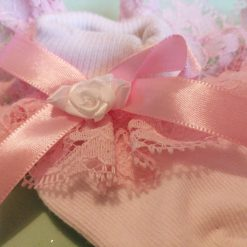 Pink frilly baby socks 0-6 months