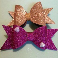 2 Girls Glitter Hair Bows Clips