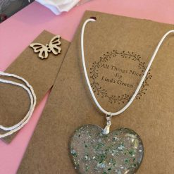 Beautiful resin heart necklace