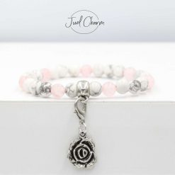 Handmade 'Mother's Day' Howlite and Rose Quartz gemstone bracelet shown with a rose charm