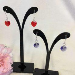 Swarovski Crystal Heart Earrings Silver