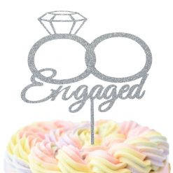 Engaged Cake Topper With Two Rings, Engagement Celebration Cake Topper