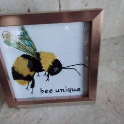 bee unique thread painting. Artwork. Home decore. Gifts.