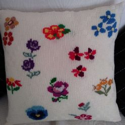 Hand embroidered floral cushion