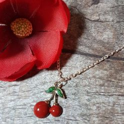 'Fruit' Cherry Tibetan Silver Charm Necklace | Cherries Birthday Christmas Mothers Mother's Day Valentine Anniversary Easter Jewellery Gift Ideas | Charming Gifts