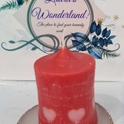 Hand crafted candle with hearts