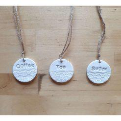 Handmade Tea Coffee Sugar tags - Set of 3 for jars or canisters