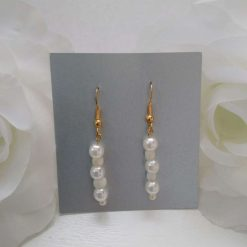 Cream Pearl and Seed Bead Gold Coloured  Drop Fishhook Earrings