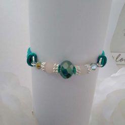 Jade Green Crystal Type Beads and Suede Bracelet