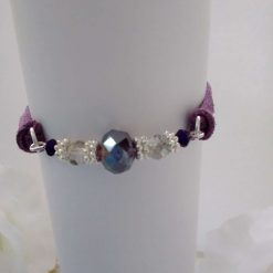 Purple Crystal Type Beads and Suede Bracelet