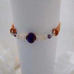 Dark Purple Crystal Type Beads and Tan Suede Bracelet