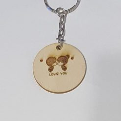 Wooden key ring love you