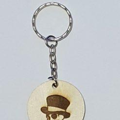 Wooden key ring skull
