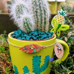 3 cacti in hand painted mug with embellishments
