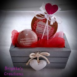 Decorated Rustic Wooden Box with Solid Perfume and Scented Drawer Sachet