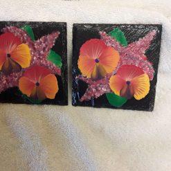 Hand painted slate coasters red/orange pansies