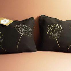 Black and gold handprinted cotton make-up bag.