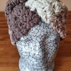 Crocheted patterned ear warmer...cream/neutral