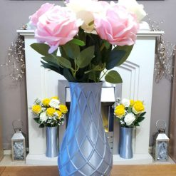 Diamond Pattern Vase - Silver